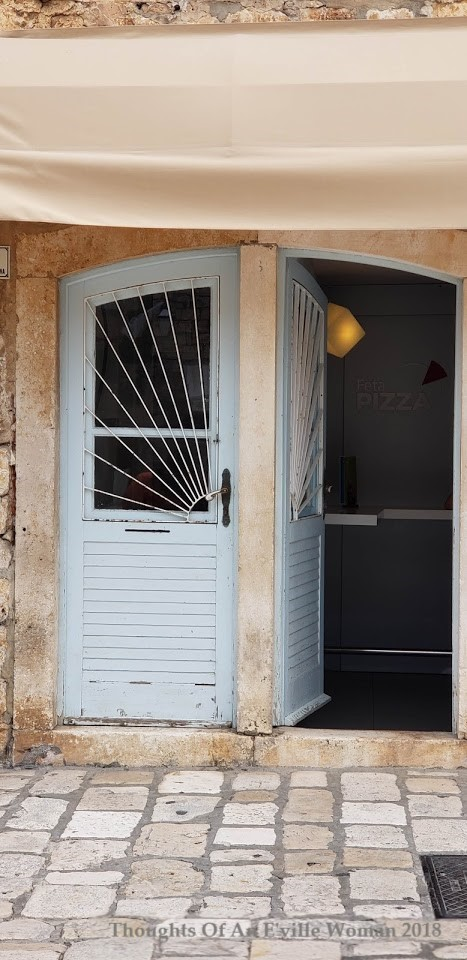 white double hvar doors